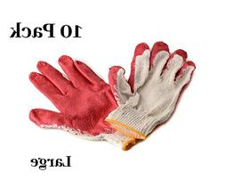 10 Pack Latex Dipped Nitrile Coated Work Gloves Large