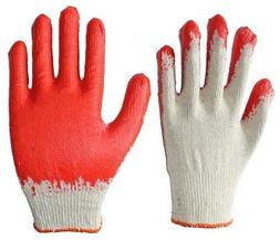 100 PAIRS Wholesale Red Latex Coated Cotton Gloves Made In K