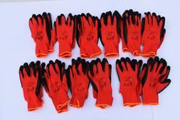 12 pack 13G Work Gloves Black Crinkle Texture Latex Coat Bui