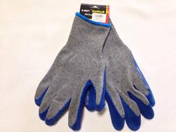 12 Pack, Rubber Coated Cotton Gloves, Blue / Gray Color