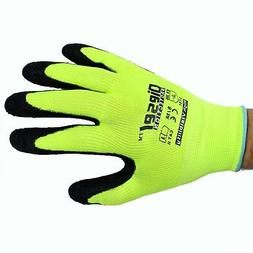 12 Pair Diesel Green Safety Gloves Latex Coated Grip Cut Res