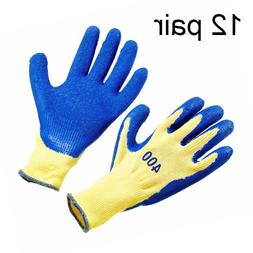 12 Pair  Rubber Coated String Knit Safety Work Gloves, Size