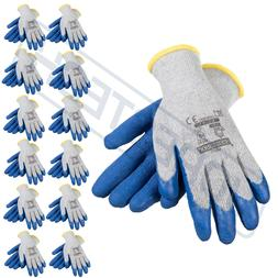 12 Pairs Cotton  Work Gloves w/ Blue Crinkle Texture Latex C