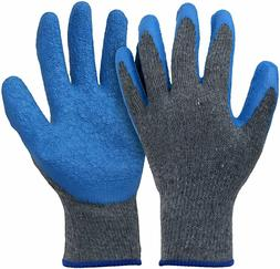 12-Pairs Knit Work Gloves Cotton Textured Rubber Latex Coate