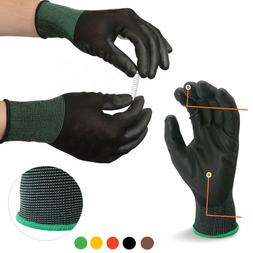 10 Pairs Work Gloves Black Ultra-Thin Safety Polyurethane Co