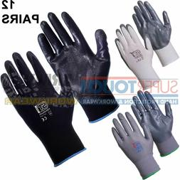 12 x Pairs Work Gloves Nitrile PU Coated Safety Builders Mec