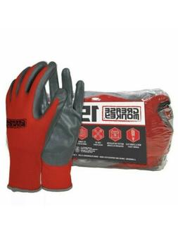 15 x Pack Grease Monkey Nitrile Coated Grip Gloves Red & Bla