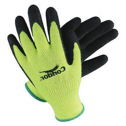 CONDOR 19L443 Coated Gloves,L,Hi-Vis Yellow/Black,PR