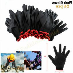 24Pcs/12 Pairs Nylon PU Coated Safety Work Gloves Builders G