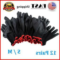 24Pcs/12 Pairs Nylon PU Coated Safety Work Gloves Garden Gri