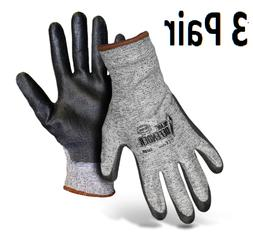 3 Pair of Cut Resistant Polyurethane Coated Gloves Boss Blad