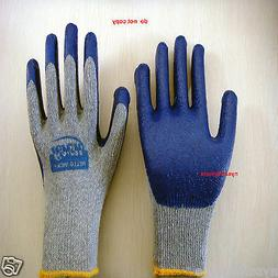 40 Pairs Premium BLUE Latex Rubber Coated Palm Work Gloves