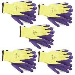 """5pk 8"""" Builders Protective Gardening Latex Rubber Coated Wor"""