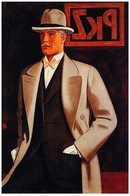 6475.Pkz.Well dressed man in coat and hat with gloves.POSTER