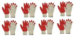 8 Pair Red Latex Coated Construction Work Gloves Hand Protec