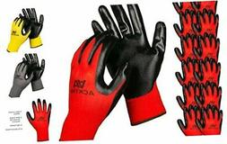 ACKTRA Nitrile Coated Nylon Safety WORK GLOVES 12 Pairs, Kni