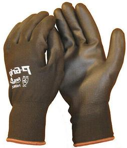 Black Polyurethane Coated Palm Black Nylon Work Gloves Size