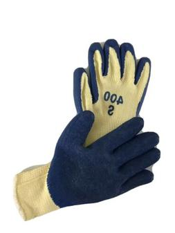 Blue Rubber Palm And Finger Coated Work Gloves Knit Wrist -