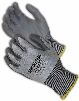 CE CUT RESISTANT LEVEL 4  GREY PU PALM COATED GLOVES, 12 PAI