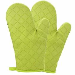 Cotton Oven Mitts Flame Retardant Quilted Silicone Coating H