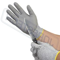 Cut Resistant Level 5 Work Gloves Grey PU Palm Coated -1 Pai