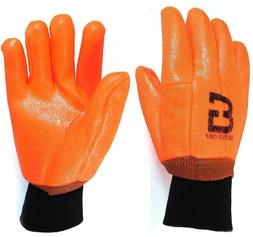 Heavy Duty Sandy finished PVC Coated Gloves with Knit Wrist-