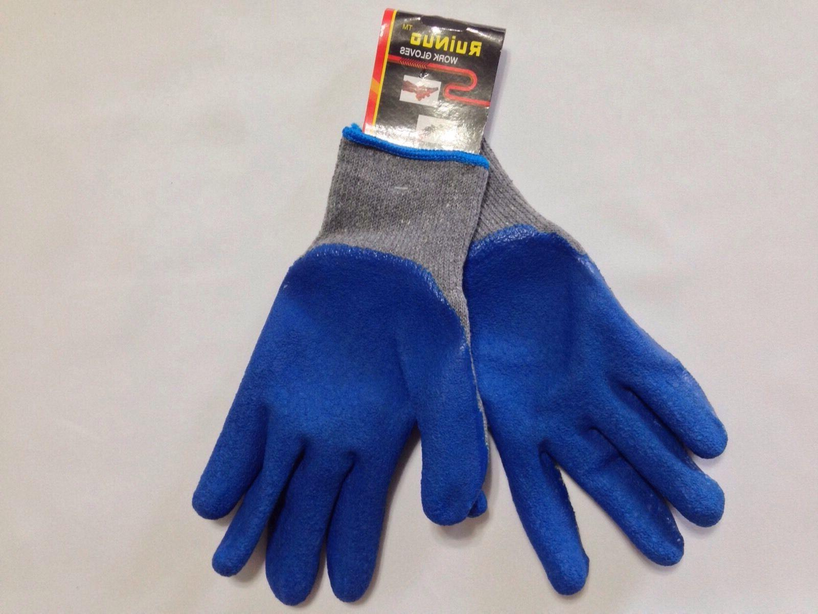 12 Pack, Rubber Coated Cotton Gloves, Blue Gray Color