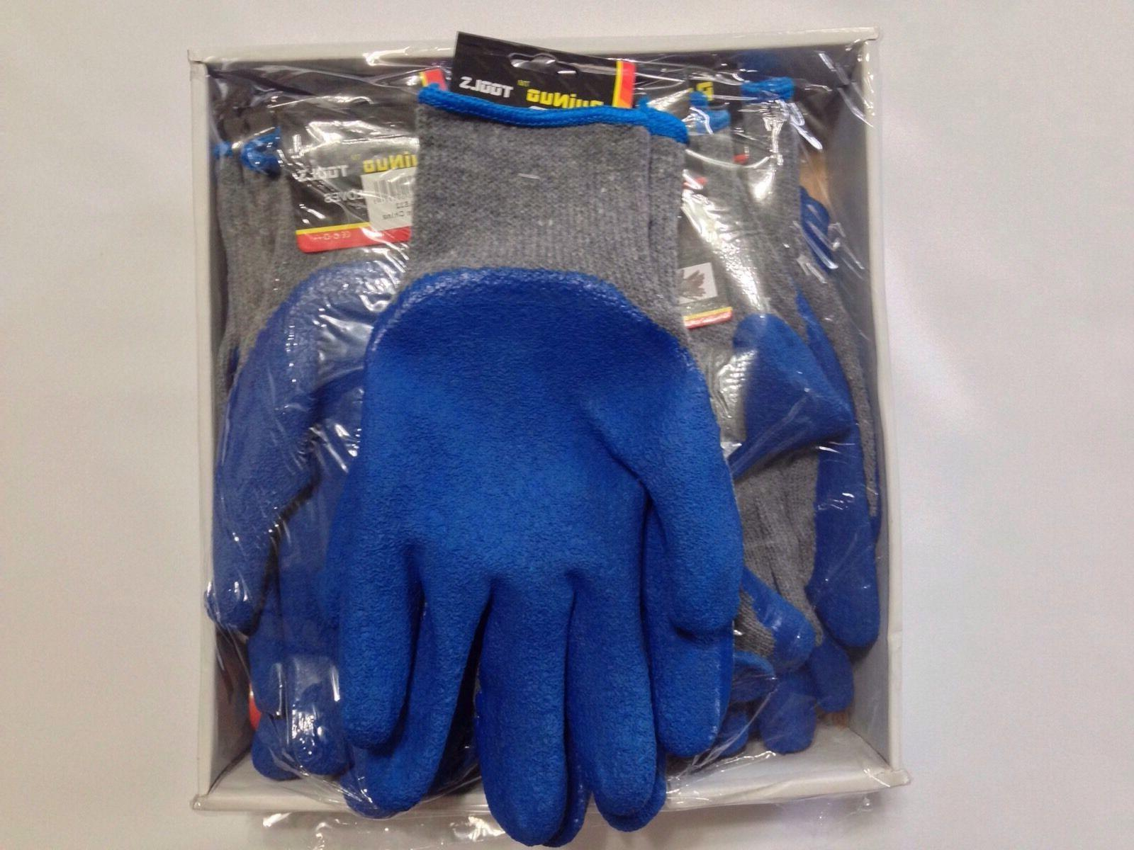 12 Rubber Cotton Gloves, Blue Gray