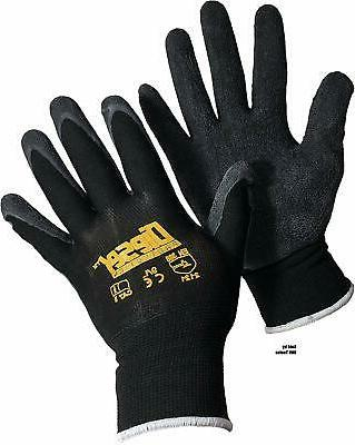 12 pair black safety gloves latex coated