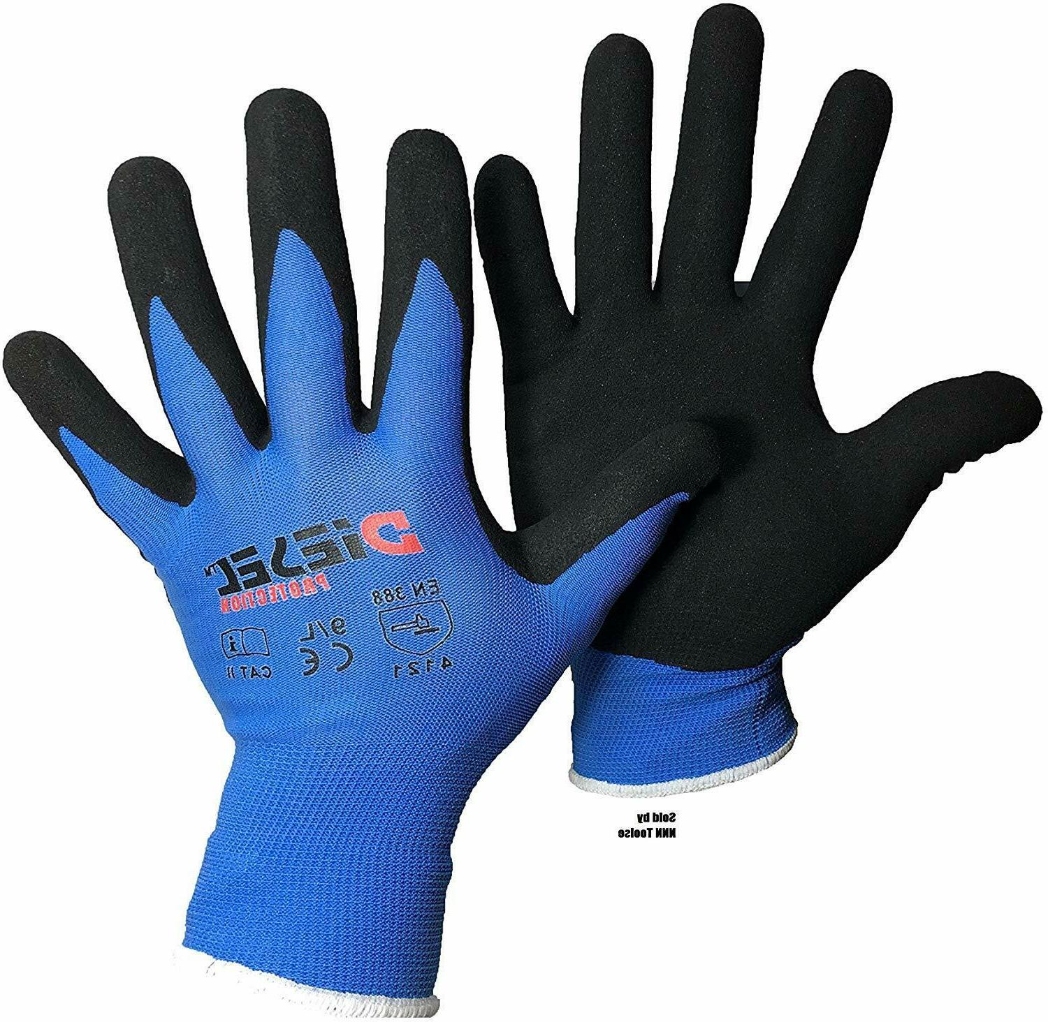 12 pair blue safety gloves latex coated