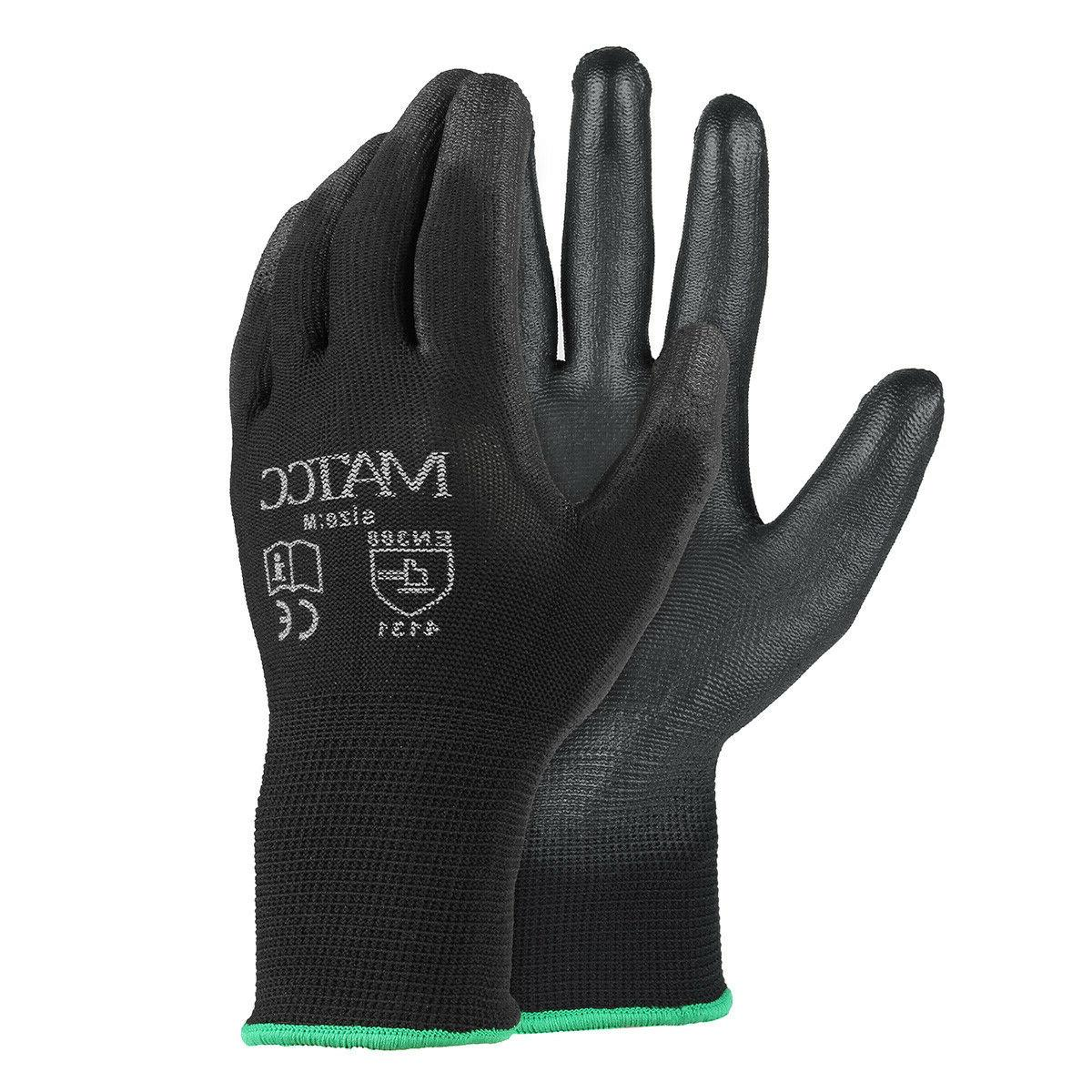 12pairs pu nitrile coated safety work gloves