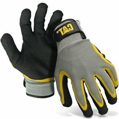 CAT Medium Yellow and Black Double Coated Textured Gloves