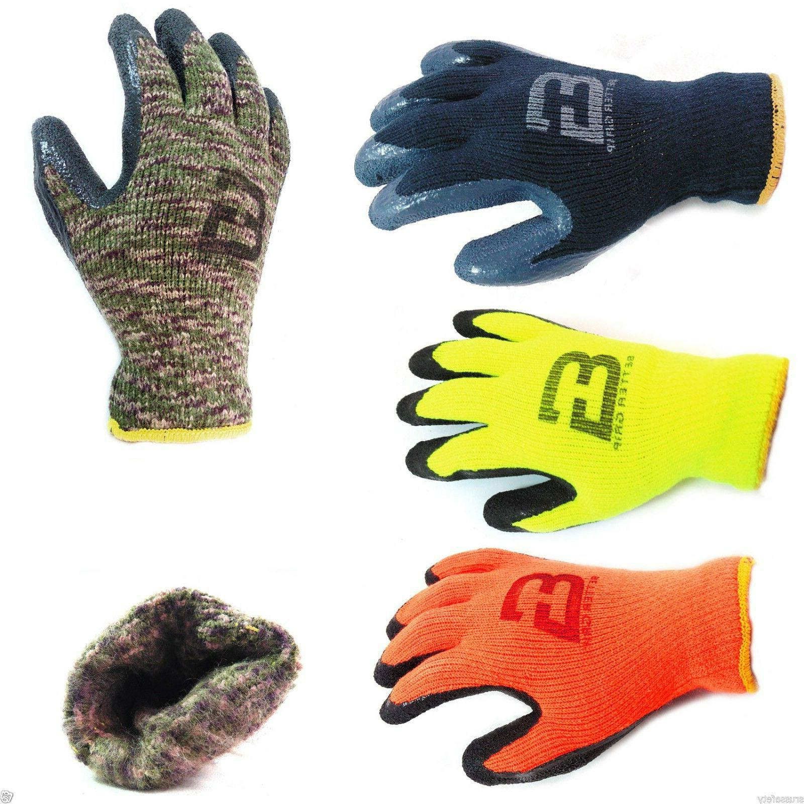 insulated winter rubber coated gloves crinkle finished