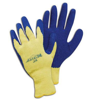 k roc blue latex palm coating gloves