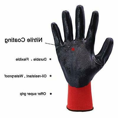 Nitrile Coated Work 12 Pairs Working Gloves For Mec
