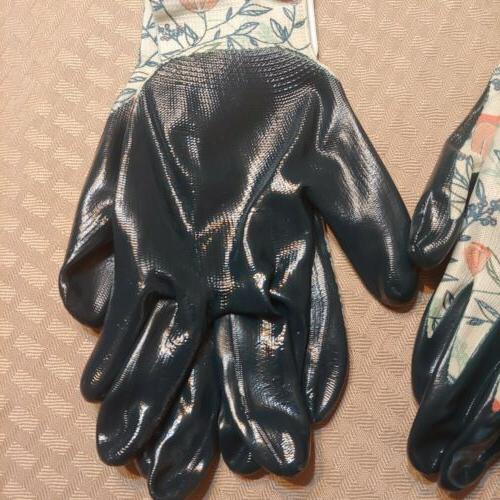 Two Pack Nitrile Garden Gloves Size