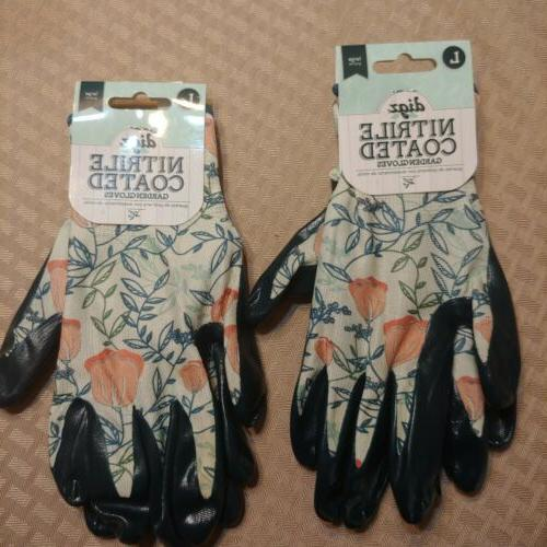 two pack of nitrile coated garden gloves