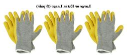 Latex Coated Knit Gripper Multi-purpose Work Gloves Large or