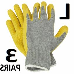 latex coated work gloves large 3 pairs