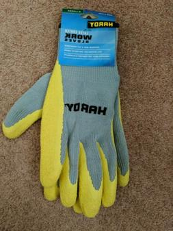 HARDY Latex Coated WORK GLOVES Size X-LARGE Color Yellow & G