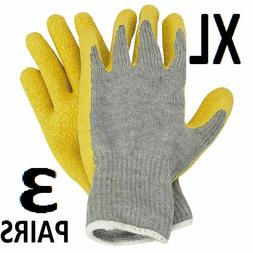 Latex Coated Work Gloves X-Large 3 Pairs