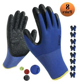 Latex Rubber Grip Coated Safety Work Gloves for Men Women 8