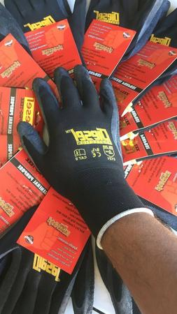 Small  12 Pair Diesel Black Safety Gloves Latex Coated Grip