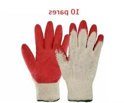 Men's Construction Gloves Rubber Coated 10 Pairs × 10$