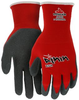 MCR Safety Ninja Nylon Work Gloves with Latex Coated Palm, R