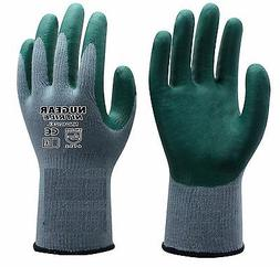 PREMIUM GREEN NITRILE PALM COATED GLOVES, 6 PAIRS