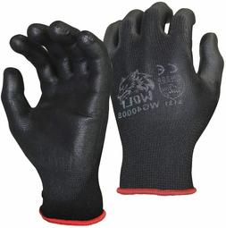 WOLF Ultra-Thin Black Work Gloves Polyurethane Palm Coated N
