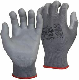 WOLF Ultra-Thin Grey Work Gloves Polyurethane Palm Coated Ny
