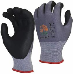WOLF Work Glove Ultra-Thin Nitrile Foam Grip Palm Coated Nyl