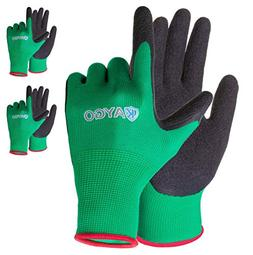 Work Gloves for women and men - 3 Pairs Latex Textured Coate